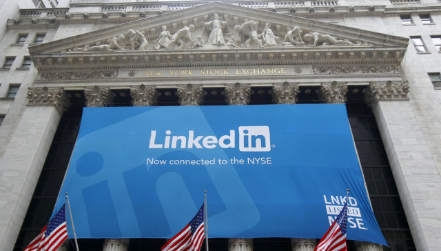 Image: Banner announcing Linkedin Inc. listing on the New York Stock Exchange hangs on Exchange in New York
