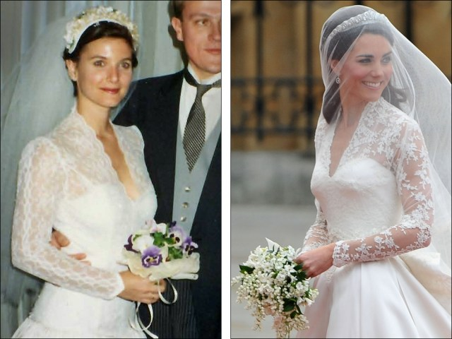 Image: Clare Cushman in her wedding dress 20 years ago, next to Kate Middleton in her wedding dress on royal wedding day