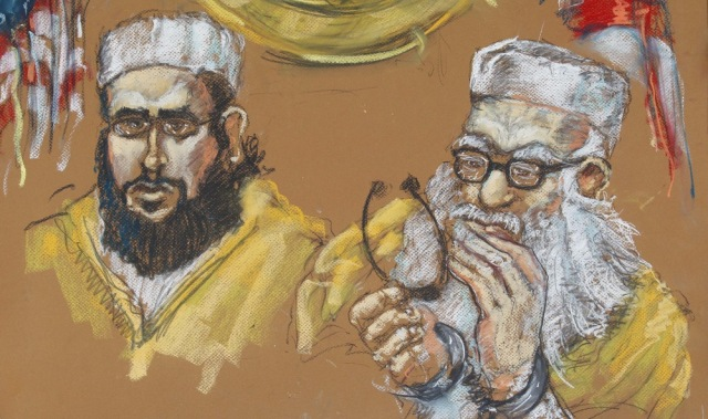 Image: Drawing of imam, son in court