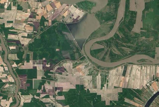 Image: Satellite view of Morganza Spillway
