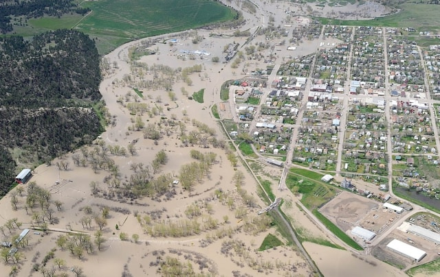 Image: Aerial of flooded Roundup, Montana