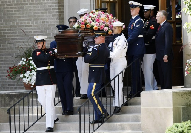 Image: Betty Ford's casket leaves church