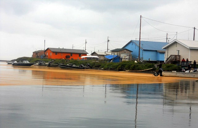 Image: An orange substance on the water surface in Kivalina, Alaska
