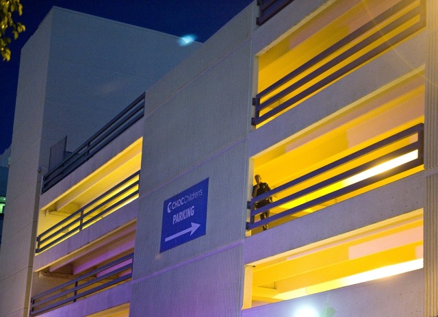 Image: Police officer at parking structure in Orange, Calif.