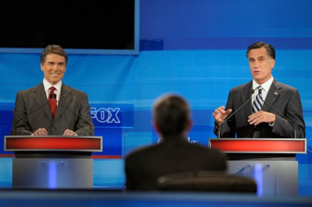 Image: Rick Perry, Mitt Romney