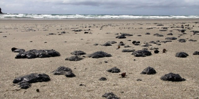 Image: Oil washed ashore on New Zealand's Mount Maunganui beach