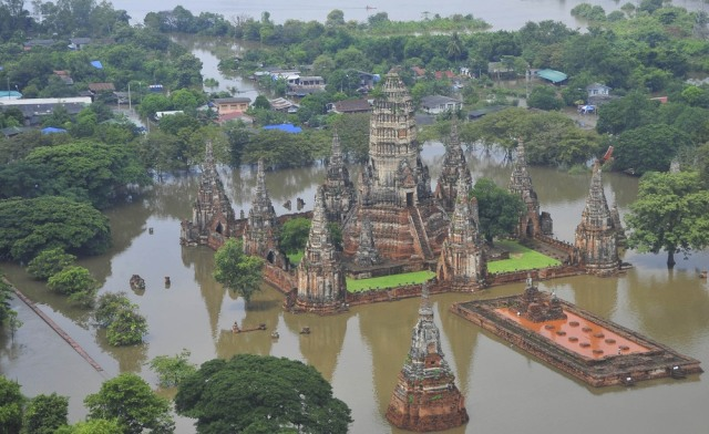 Image: An aerial view of a flooded temple at Wat Chaiwatthanaram
