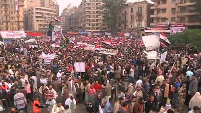 Image: Crowd gathers in Cairo's Tahrir Square on Friday