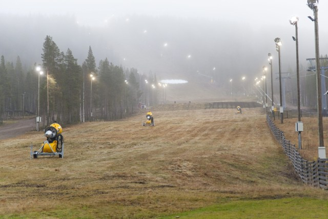Image: A grassy, snowless, ski slope is seen in Levi, Finland.
