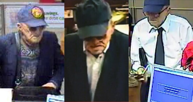 Image: Security cameras capture 'Geezer Bandit' bank robberies