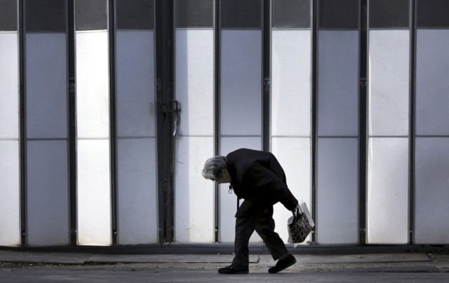 Image: An elderly woman in Tokyo in 2009
