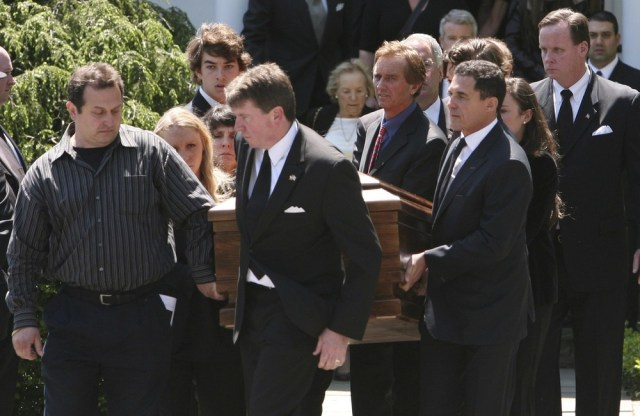 Image: Mary Kennedy's casket is carried out of St. Patrick's Church