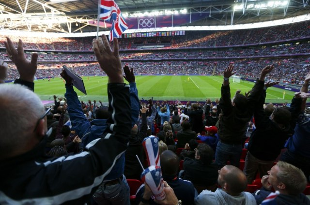 Image: British fans watch Olympic soccer game at Wembley Stadium