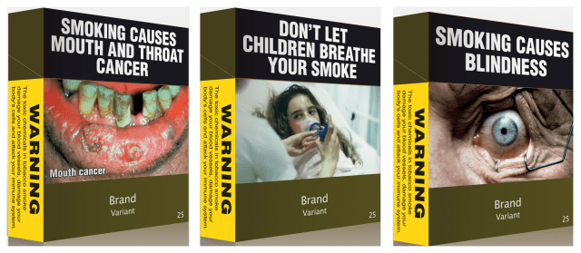 Image: Illustrations of some of the proposed models of cigarettes packs under Australian law