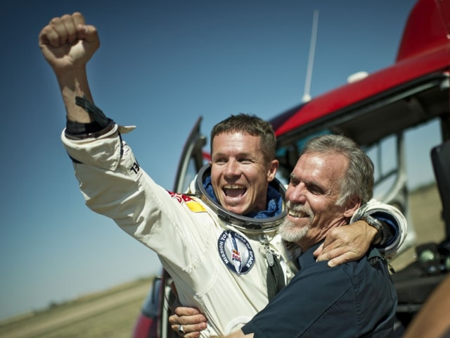 Image: Felix Baumgartner after record freefall jump