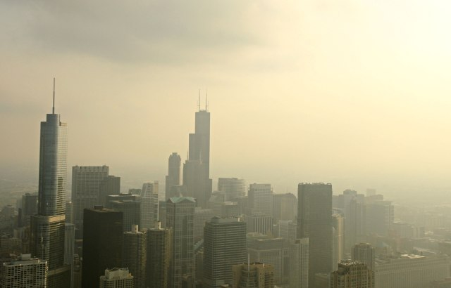 Image: Minnesota wildfire causing haze over Chicago