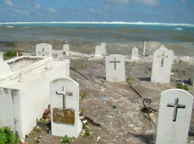 Image: Cemetery being eroded along beach