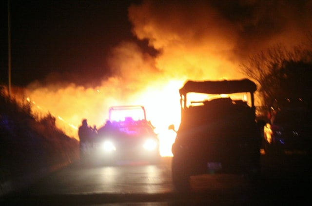 Image: Fiery roadblock in Morelia
