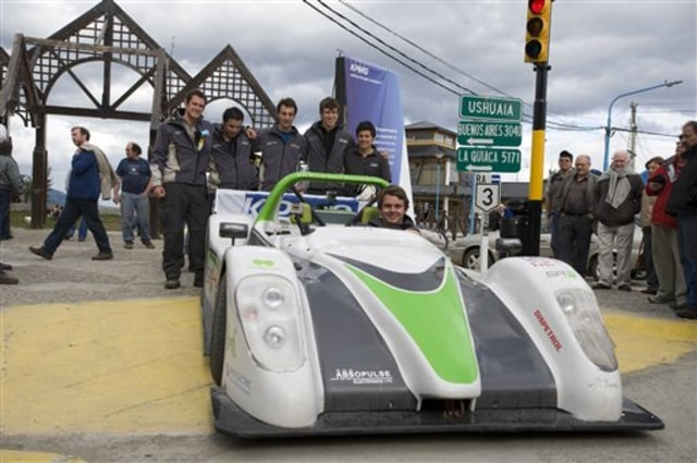 Image: Electric sportscar and team members