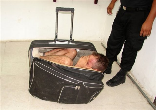 Image: Prison inmate Juan Ramirez Tijerina in a suitcase after his failed escape bid.