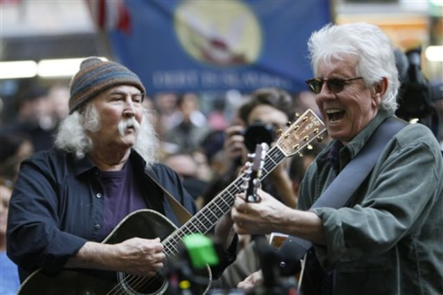 Image: David Crosby, left, and Graham Nash perform Tuesday at the Occupy Wall Street encampment at New York's Zuccotti Park.