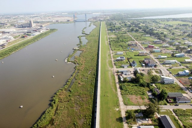 Image: Repaired levee wall next to Ninth Ward