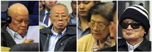 Image: Four former Khmer Rouge leaders during their trial in Phnom Penh