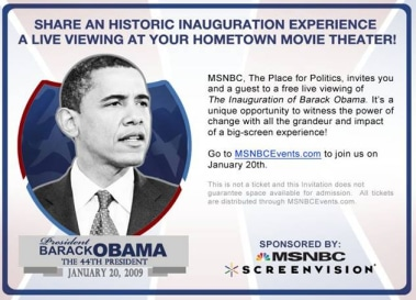 The inauguration of Barack Obama as President of the United States can be seen in select movie theaters across the country.