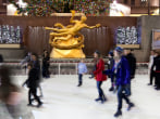 Image: Sketers enjoy the Ice Rink at Rockefeller Center