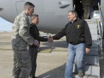 Image: U.S. Defense Secretary Panetta is greeted by 10th Tanker Base Commander Brig. Gen Gulbas and Col. Craige, Commander of 39th Air Base Wing at Incirlik Air Base