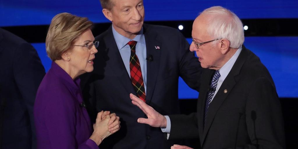 Warren and Sanders appear not to shake hands after debate