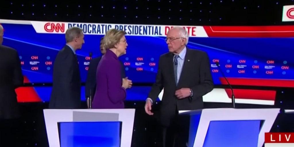 Sanders, Warren decline to shake hands after sparring during Iowa debate