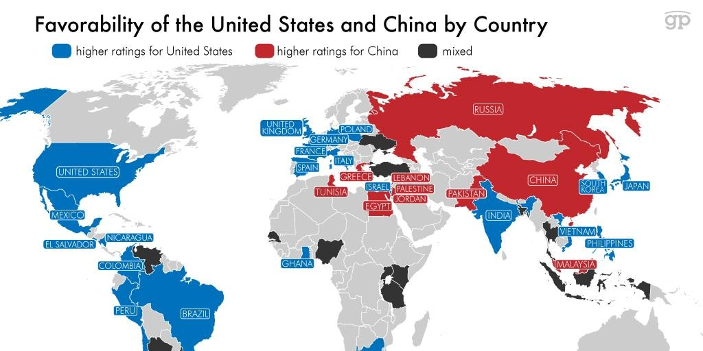 Us To China Map This Map Shows Which Countries Prefer China Over the U.S.