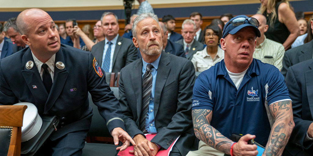 Jon Stewart lashes out at MIA lawmakers at 9/11 victims fund hearing