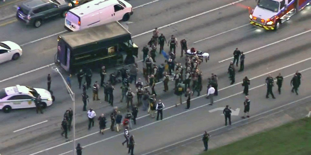 Chase and shootout involving hijacked UPS truck in Florida leads to multiple deaths