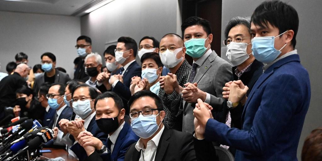 Hong Kong's pro-democracy lawmakers to resign en masse