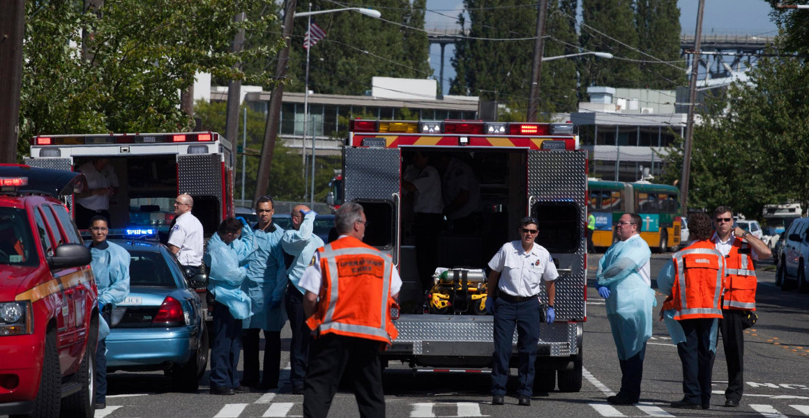 Image: Police and firefighters gather after a shooting Thursday at Seattle Pacific University.