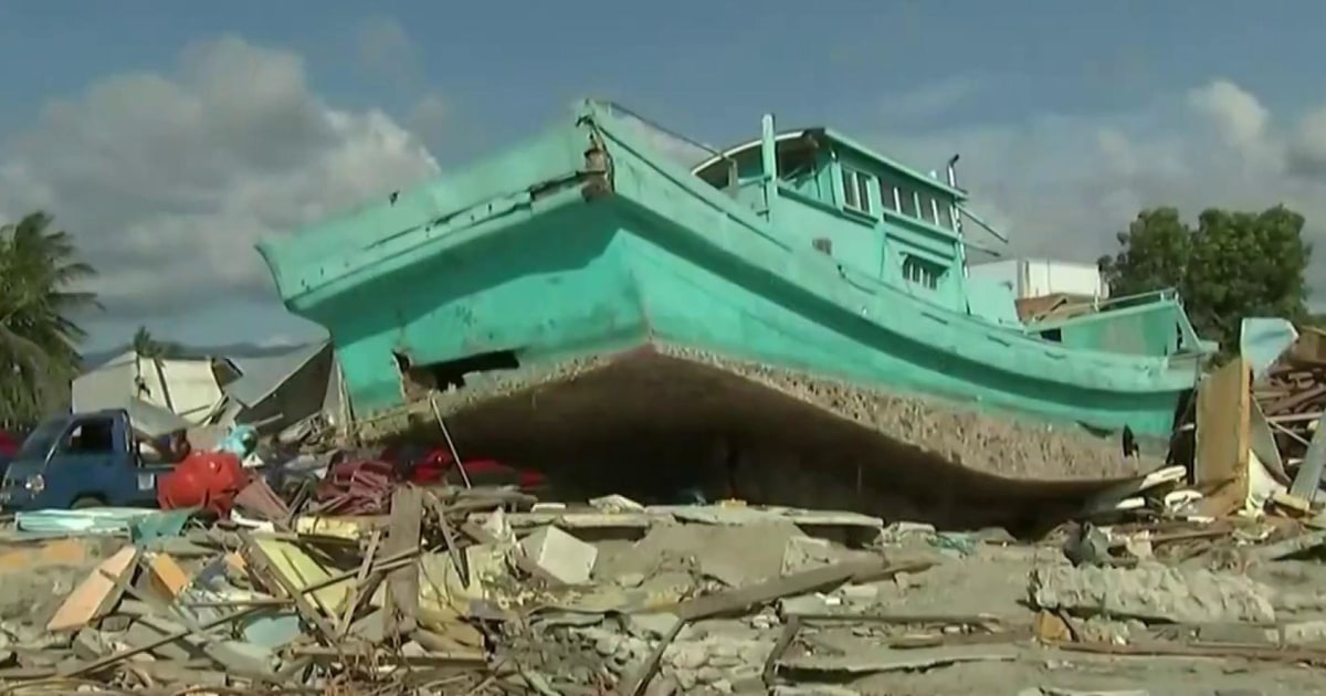 Destruction and a sea of mud in Indonesia after earthquake and tsunami