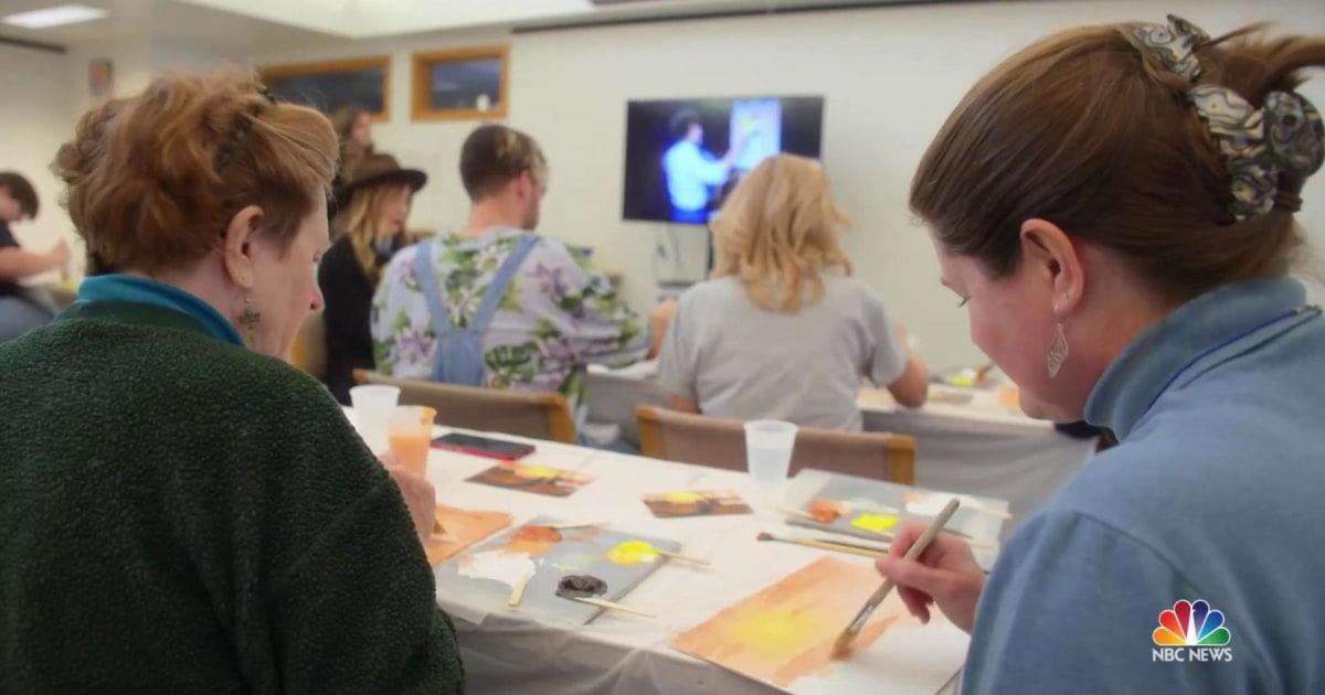 Americans Feel The Joy Of Painting With Bob Ross Themed Classes