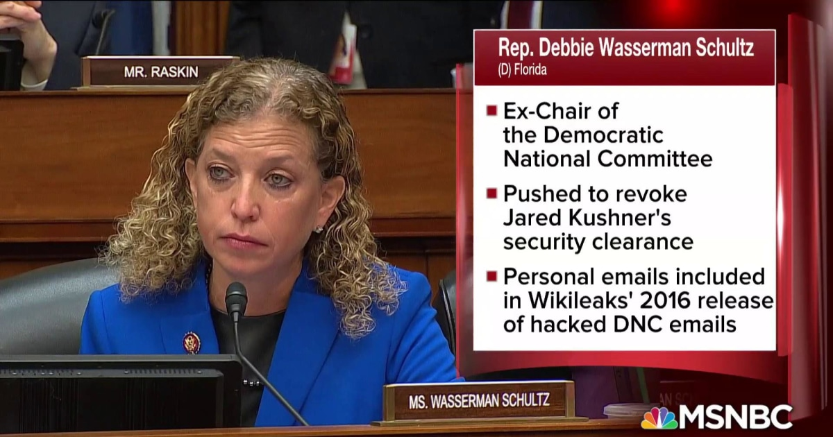 Fmr. DNC chair, ousted over hacked emails, questions Michael Cohen on Wikileaks, Russia