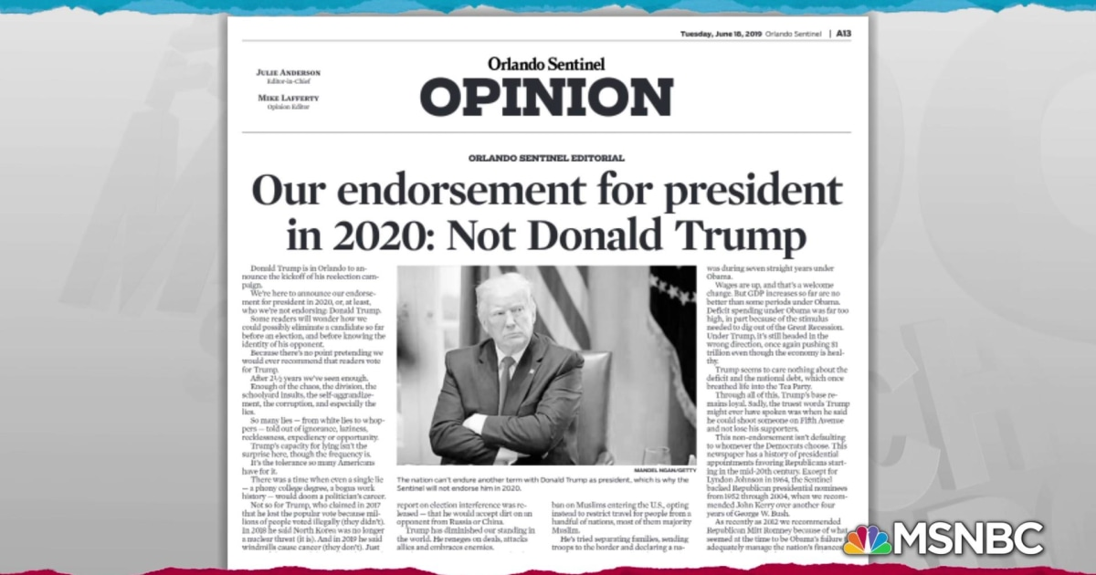'We have to do better': Florida paper rejects Trump reelection