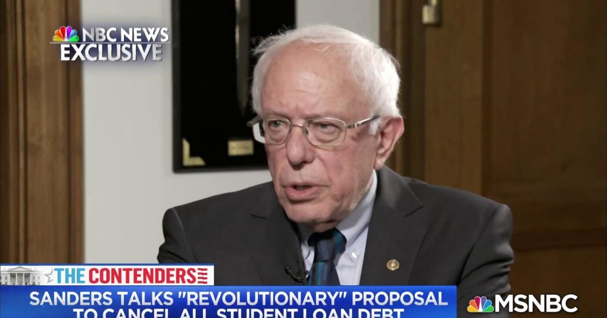 Sen. Sanders talks about 'revolutionary proposal to cancel all student loan debt'