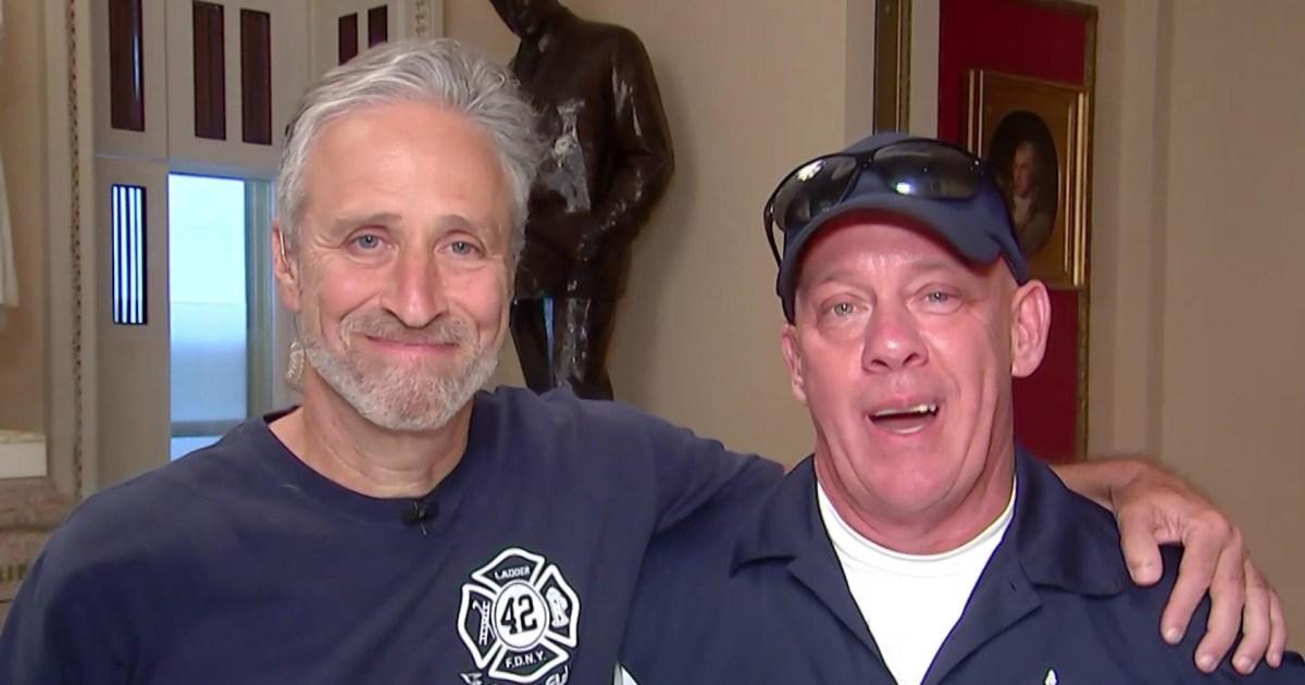 Jon Stewart and  first responder John Feal speak ahead of 9/11 Victims Fund vote
