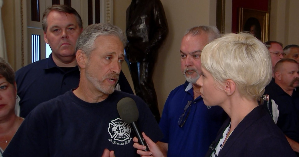 Jon Stewart reacts after House passes permanent funding for 9/11 victims