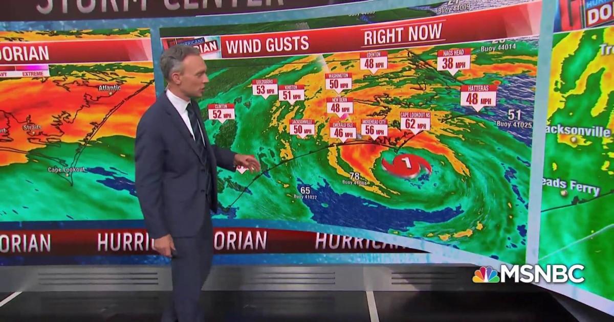 Hurricane Dorian's predicted path off the North Carolina coast