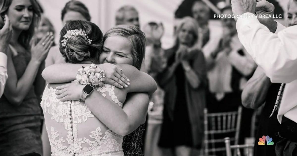 Braut und hochzeitsgast treffen zum ersten mal nach einem lebensrettenden Geschenk