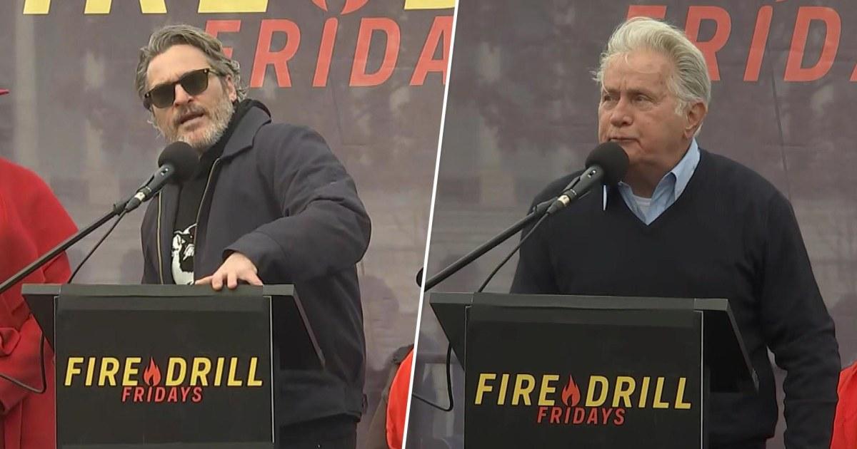 ホアキンフェニックスとマルタン光沢の参加-ジェーンフォンダの気候変動に抗議