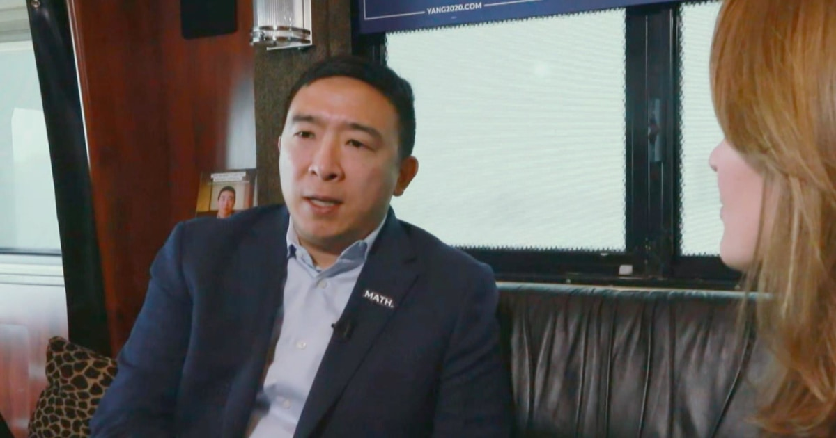 On the campaign bus with Andrew Yang