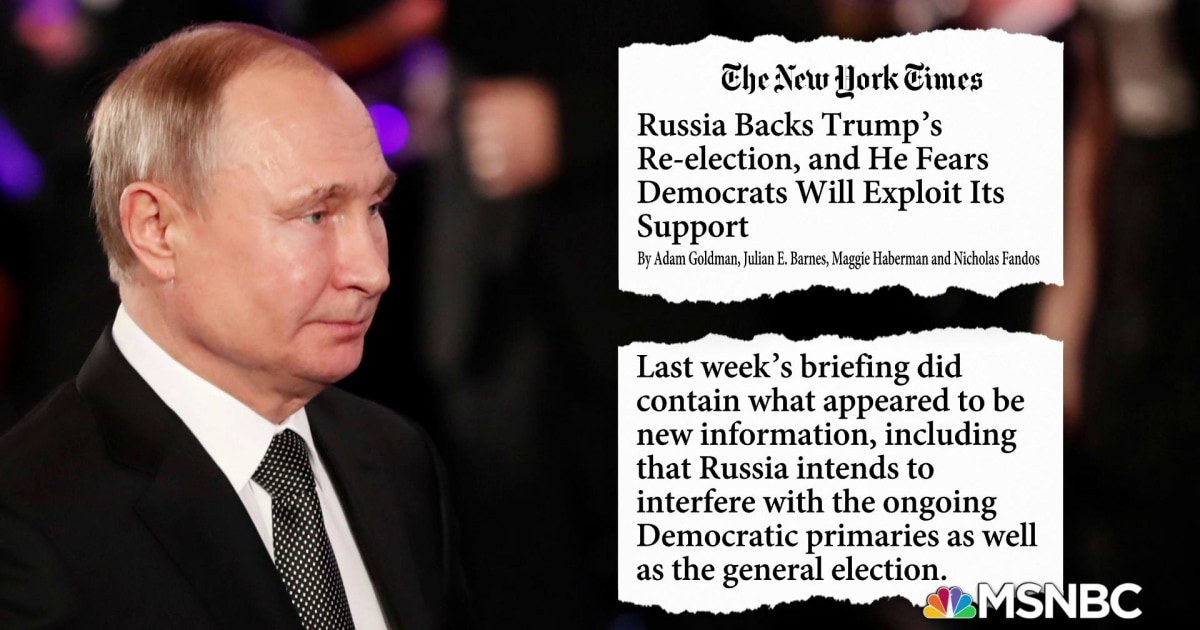 NYT: Intel briefing reveals Russia intends to interfere in Democratic primaries