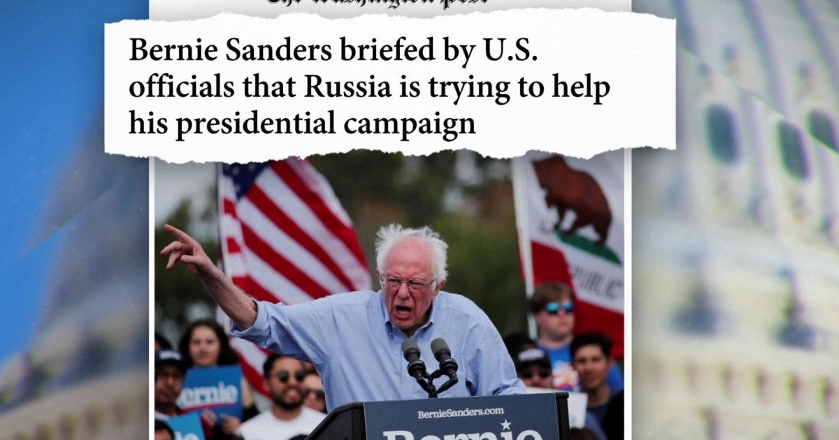 Sanders campaign responds to reports that Russia is trying to help his presidential campaign